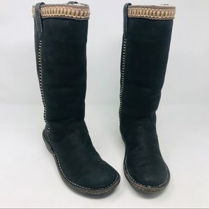 Ugg Black Suede Knee High Boots Shearling Lined